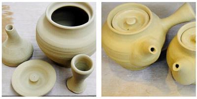 陶芸教室 東京国立けんぼう窯 急須のパーツと接合。
