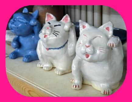 陶芸教室 東京国立けんぼう窯 三匹の招き猫完成。