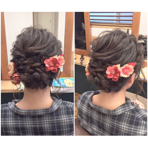 卒業式 髪型 アップスタイル ロープ編み 2017