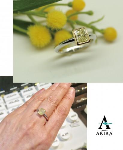 イエローダイヤモンドをティファニータイプのリングにリフォーム