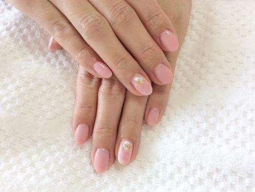 ハンドネイル☆桜色×天然石☆