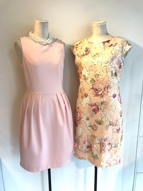 スパンコールドレス、ピンクのクラシックドレス