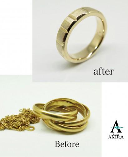 不要な指輪とチェーンを溶かして太目の指輪にリフォーム
