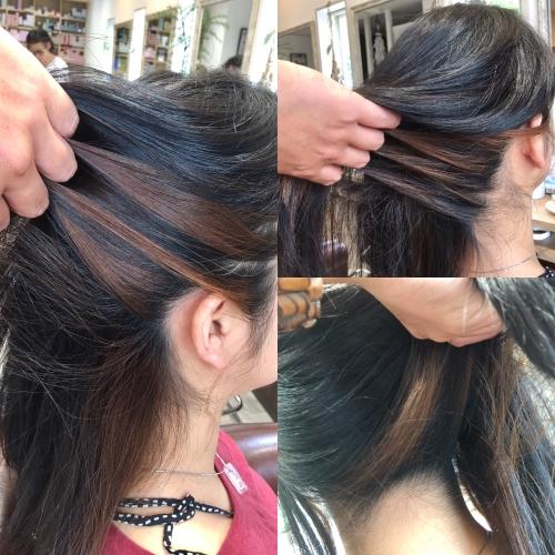 インナーカラーリング髪型ヘアスタイル調布