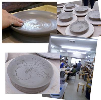 陶芸教室 国立けんぼう窯。黄瀬戸の皿つくりの集中講座開催。