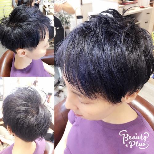 カラーブルーブラックアッシュグレー髪型美容院