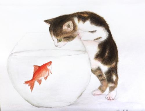 世田谷区に在住のTさんの作品『猫と金魚』