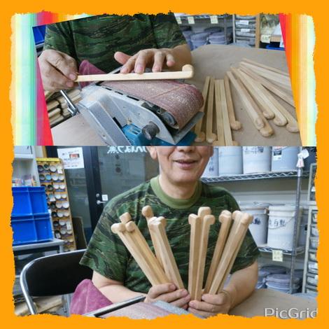 陶芸教室 国立けんぼう窯 柄ごてを18本作りました。