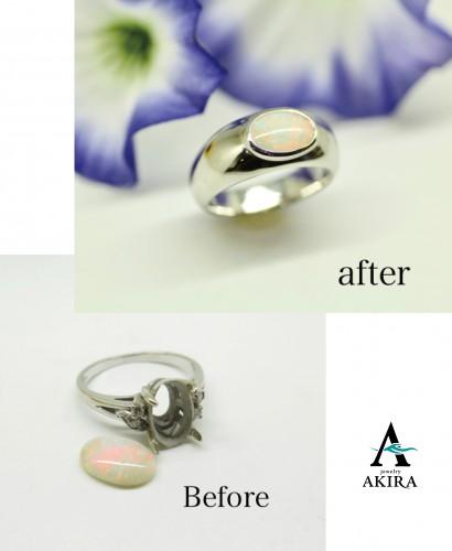 オパールの指輪を普段使いにリフォーム 千葉市中央区から