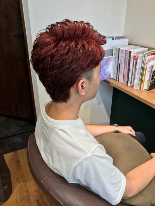 メンズ カット ヘアカラー 髪型 レッドヘアカラー
