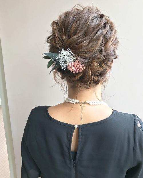 結婚式 お呼ばれヘア アップスタイル ボブアレンジ 花