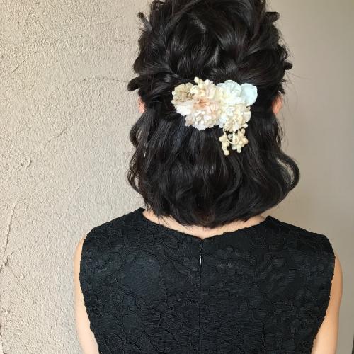 結婚式 お呼ばれヘア ハーフアップ 髪型 プリザーブド