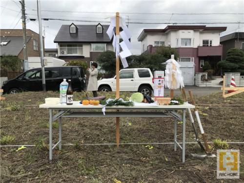 札幌市内で地鎮祭♪アークホーム新築デザイナーズ住宅♪
