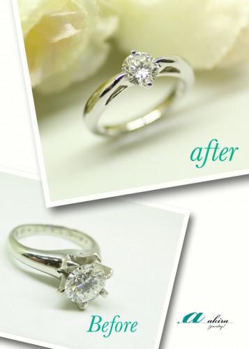 綺麗な0.8カラットのダイヤモンドをデザイン変更しました