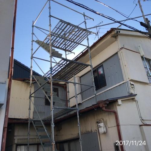 屋根リフォーム名古屋足場