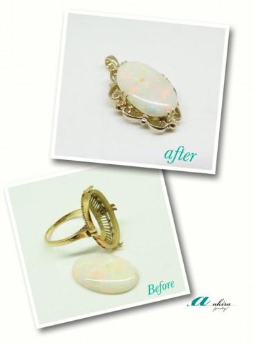昔のデザインの指輪をそのまま使ってペンダントに