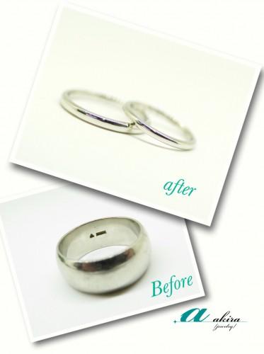 結婚指輪のご注文はお父様の形見の指輪でお作りしました
