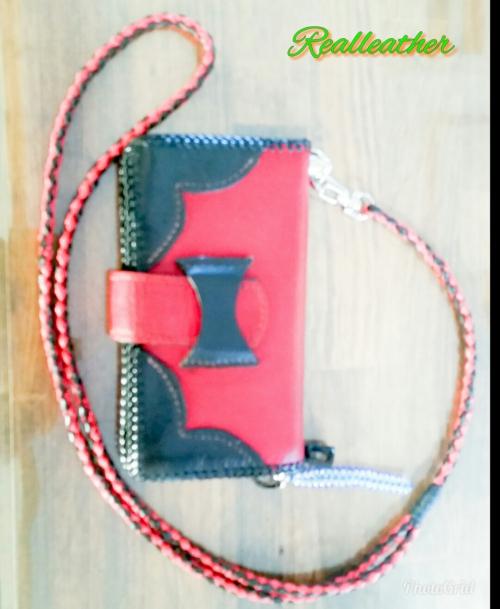 リアルレザー〜赤と黒の4つ編み携帯ストラップ〜