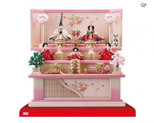 小さめで華やかな塗り桐三段雛人形飾りセット