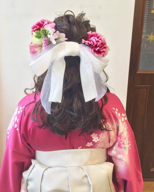 卒業式 袴 ハーフアップアレンジ