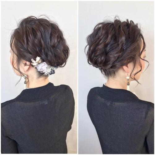 結婚式 お呼ばれ ショートヘアアレンジ アップスタイル