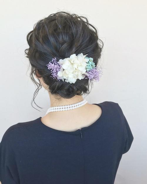 brambly  かすみ草 紫陽花 ヘアアレンジ