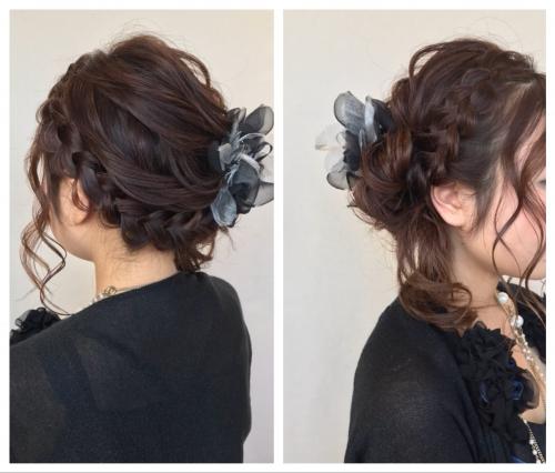結婚式 アップスタイル 編み込み まとめ髪