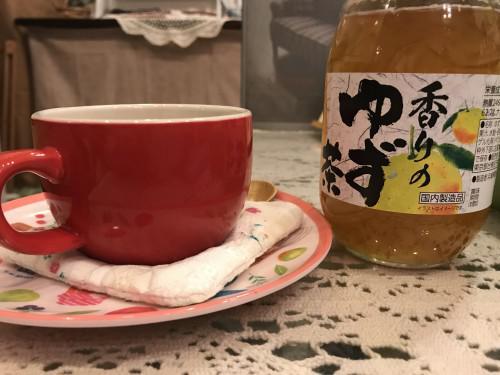 施術後のゆず茶