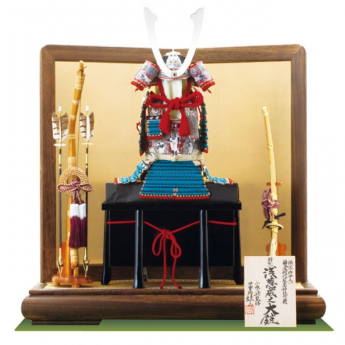 国宝模写「浅葱綾糸威」1/4の大鎧飾り