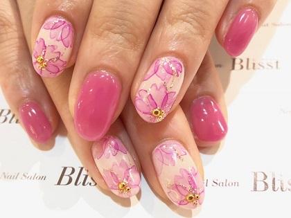 春の桜たらしこみネイル♪