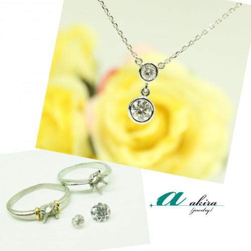 婚約指輪とデザインリングのダイヤモンドを使ってペンダントに
