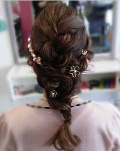 編み込み×ヘアアクセサリー