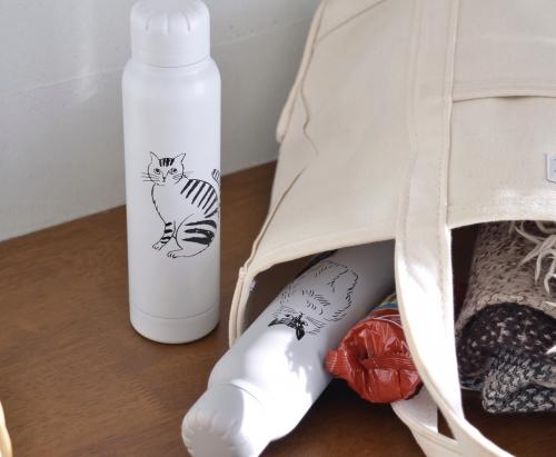 松尾ミユキ 猫イラスト スリムステンレスボトル