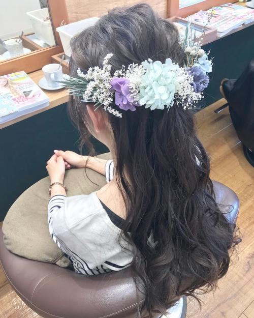 ハーフアップ ロング スタイル brambly  髪飾り
