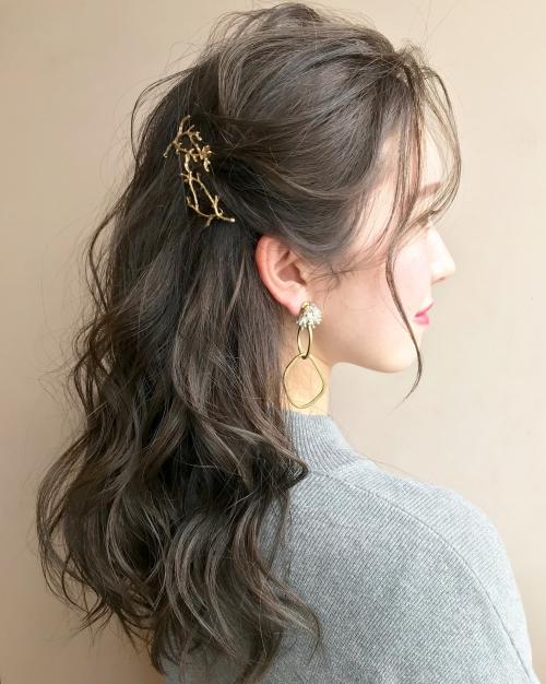 cilsoie イヤリング サンゴ髪飾り