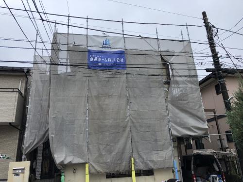 松戸市で外壁塗装の前に高圧洗浄をしに来ました。