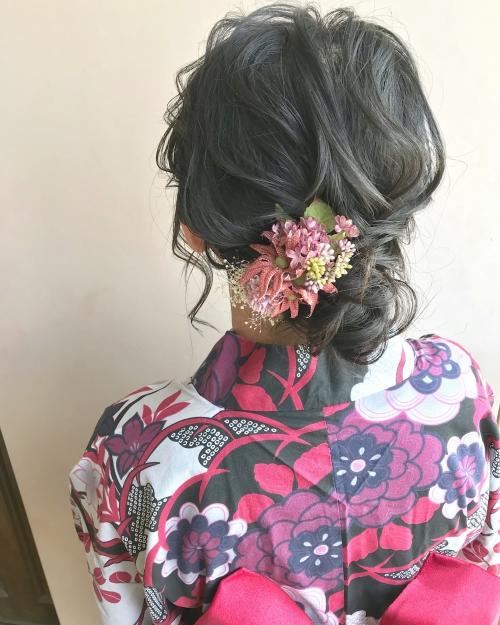 浴衣の着付け ヘアセット  brambly  髪飾り
