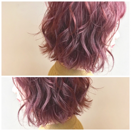 ピンク系 カラー ショート ウエーブスタイル