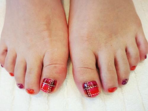 foot nail ★チェック柄