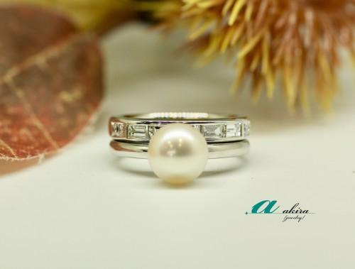 角ダイヤモンドの一文字指輪と真珠のリフォーム台東区から