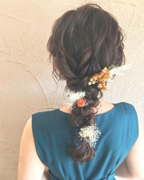 編みおろしアレンジ brambly  髪飾り