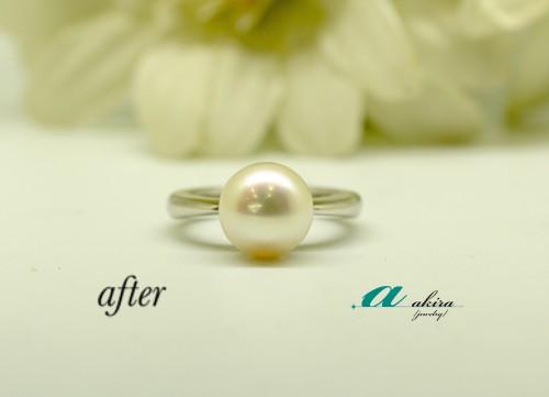 K18真珠の指輪をプラチナリングにリフォーム