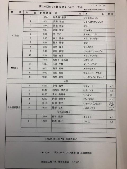 第24回部内競技会 二日目出番表