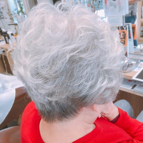 調布美容院駅前ショートヘアグレイ白髪染め