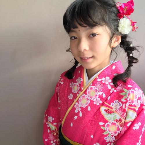 卒業式 小学生 袴着付け ツインアレンジ