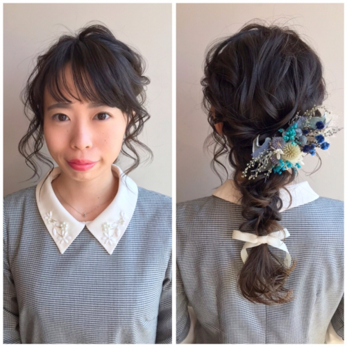 卒業式 編みおろし プリザーブドフラワー 髪飾り 2019年