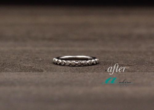 使わなくなった指輪のダイヤを使って細めの指輪に変更