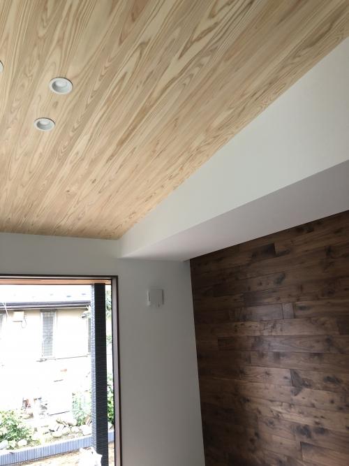伊勢崎市平屋のリビングの勾配天井