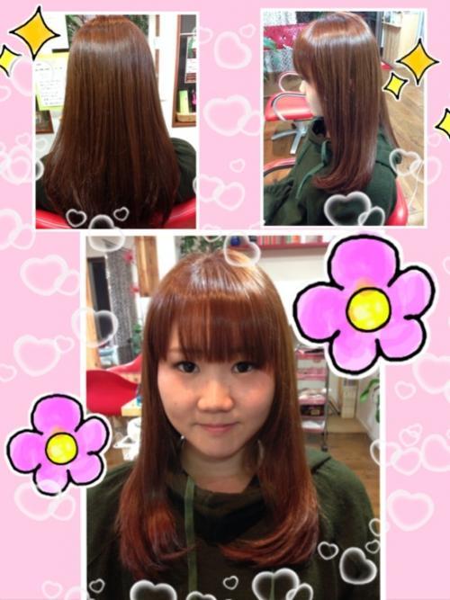 ピンクパープルカラーで艶髪。