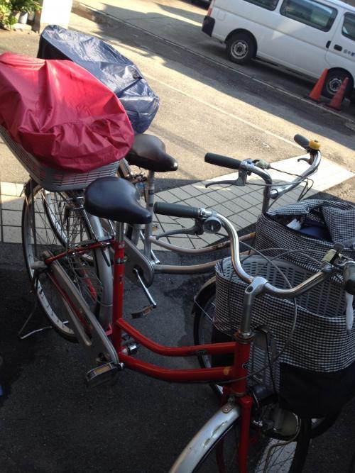自転車での配布!!
